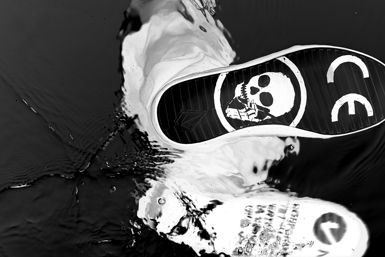 artist skullphone and volcom link up to release volcoms first footwear collaboration