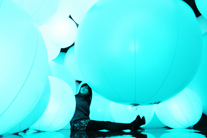 teamLab's Illuminated Spheres Respond to Human Touch