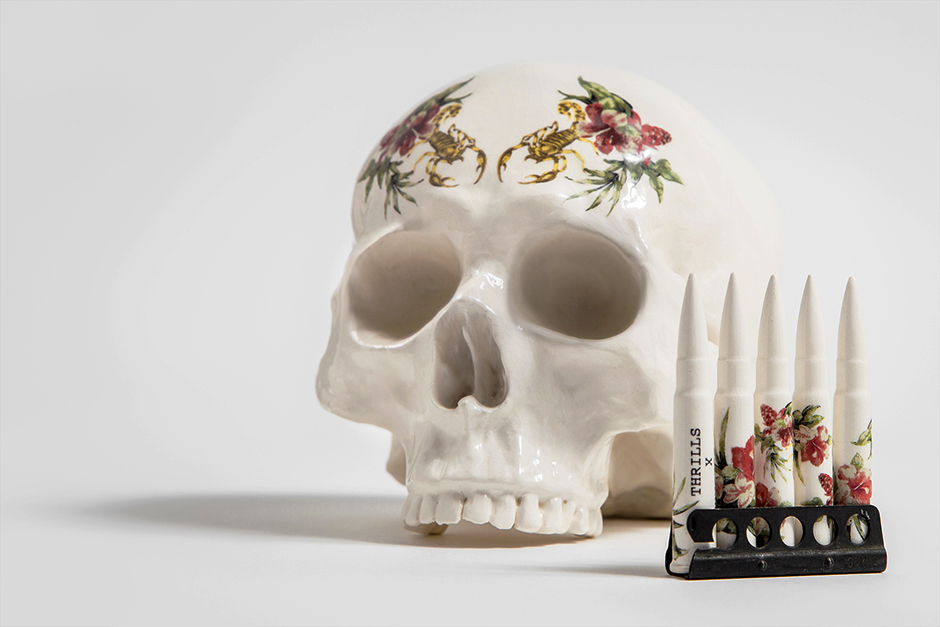 thrills x dan elborne skull bullets porcelain sculpture