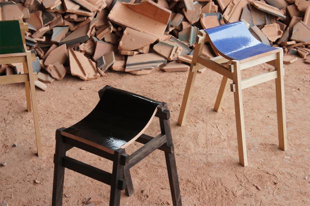 tsuyoshi hayashi recycled roof tile stools and benches