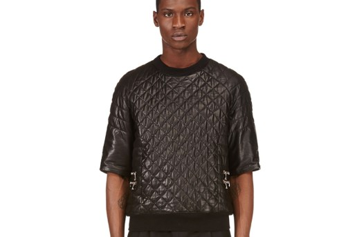 Balmain Black Short-Sleeve Quilted Leather Top