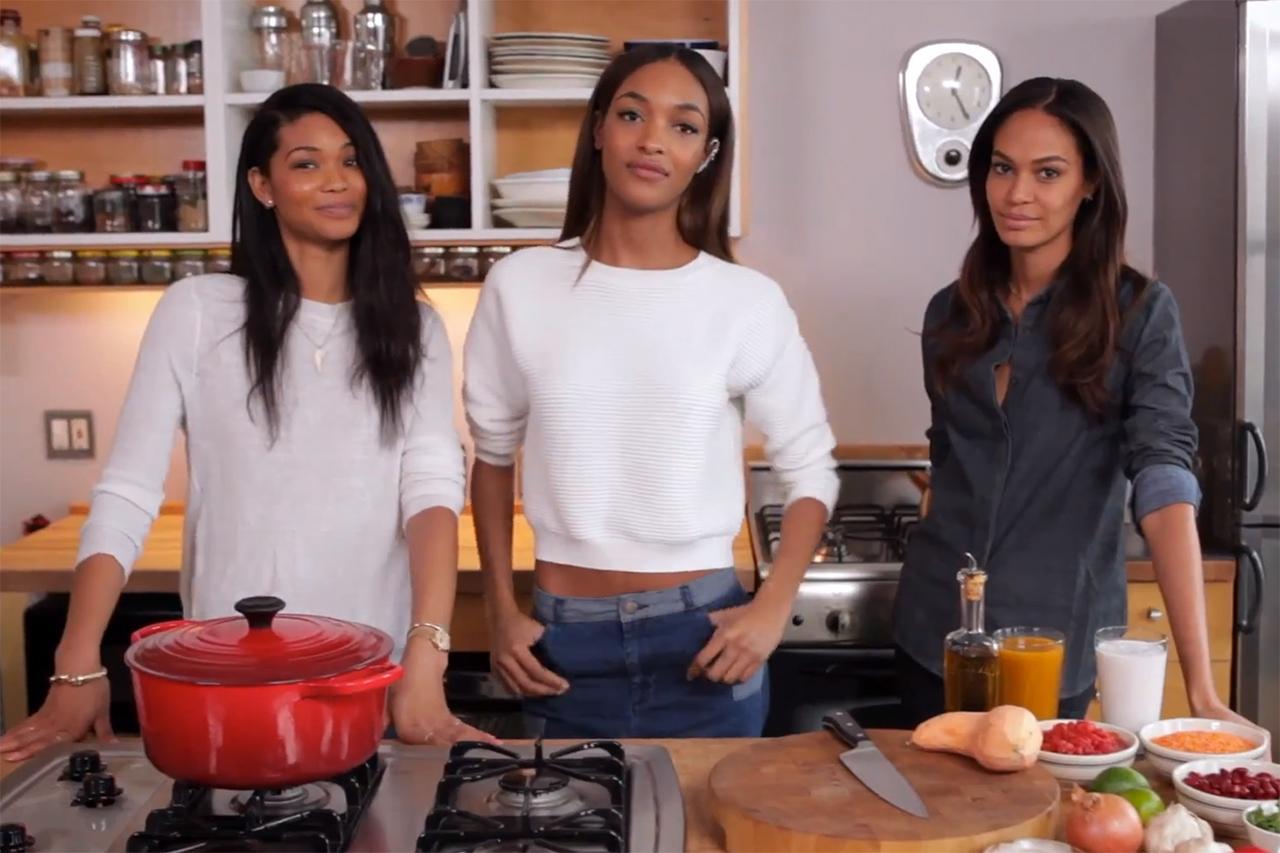 Jourdan Dunn, Joan Smalls & Chanel Iman Cook Up Some Vegan Red Thai Chili