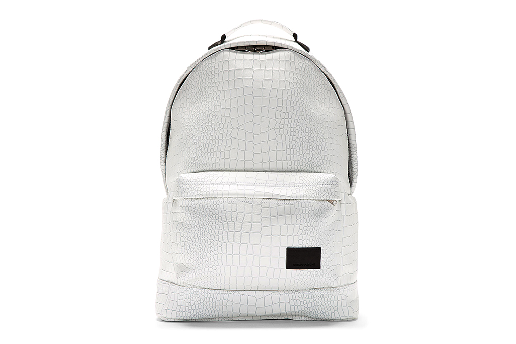 KRISVANASSCHE White Etched Croc Pattern Backpack