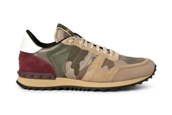 Valentino Panelled Leather and Suede Camouflage Sneakers