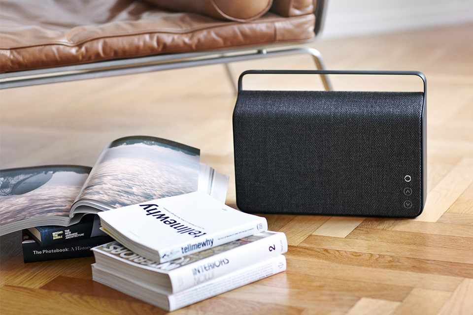 vifa copenhagen wireless speakers with kvadrat fabric