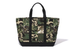 A Bathing Ape PANEL CAMO TOTE BAG