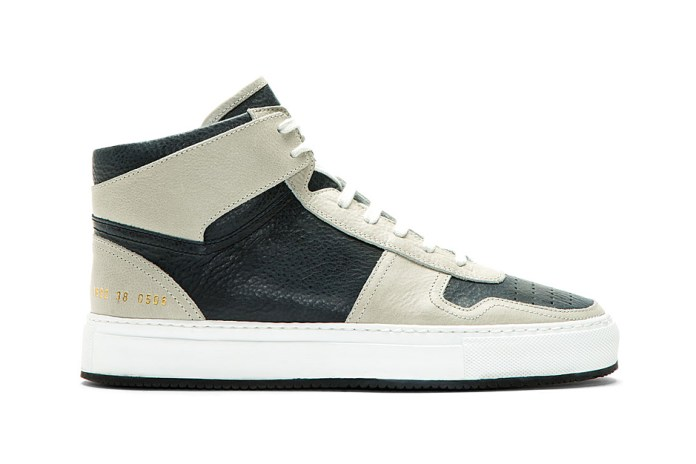 Common Projects Grey & Navy Leather Basketball Sneakers for SSENSE
