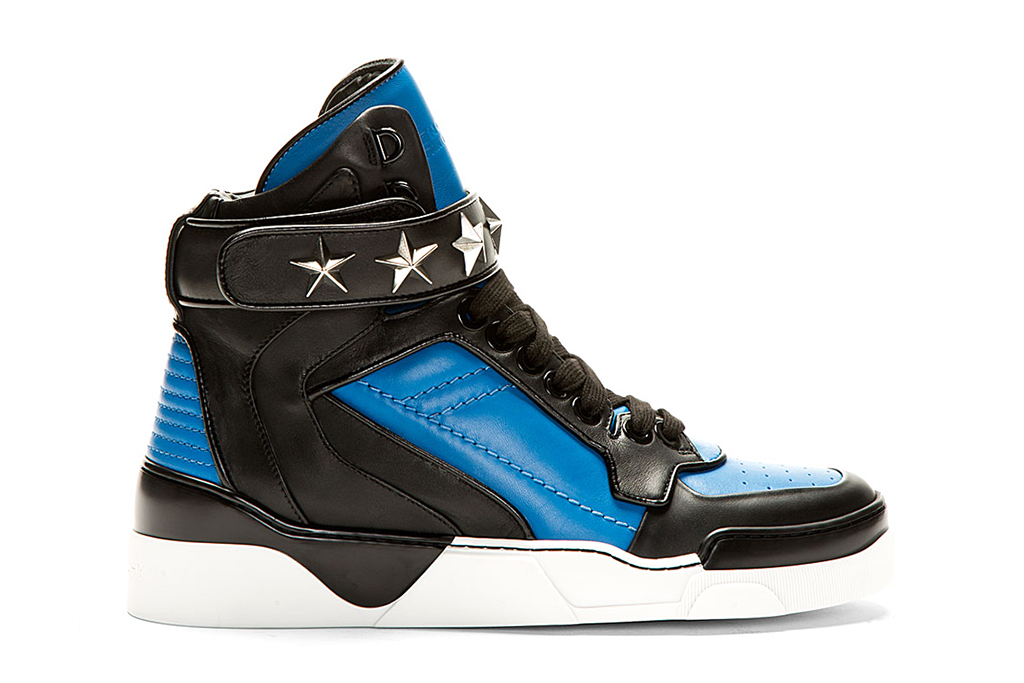 givenchy blue black leather high top sneakers