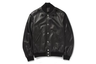 Givenchy Black Leather Embroidered Star Baseball Jacket