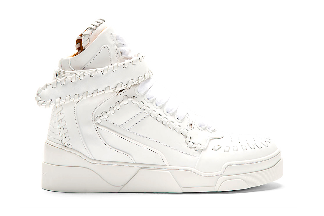 Givenchy White Leather Baseball Stitch High-Top Sneakers