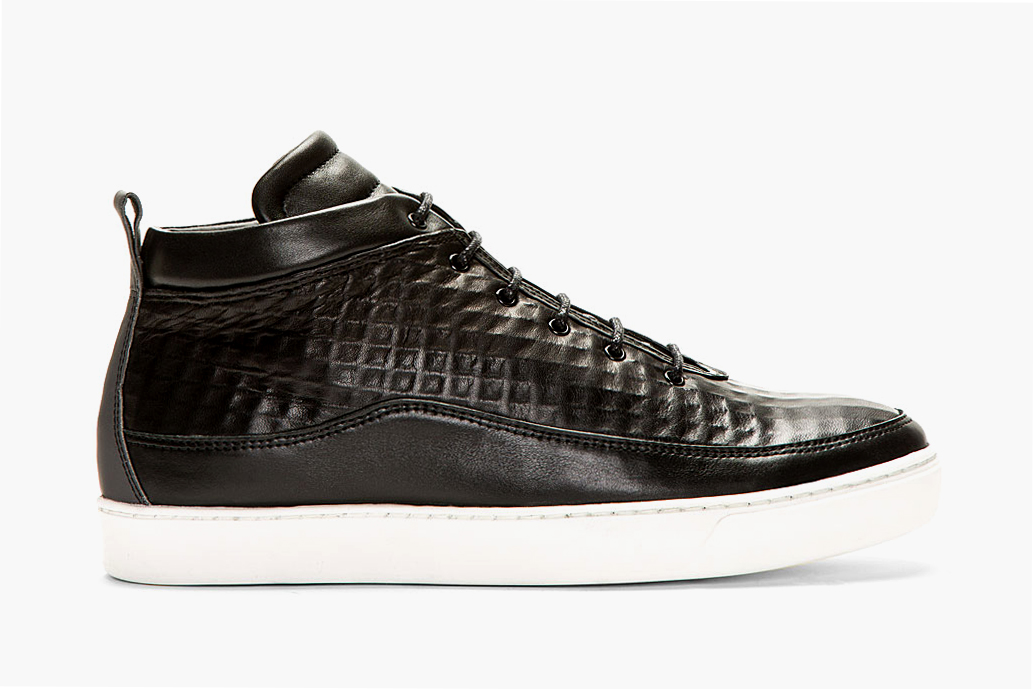 public school black textured leather mid top sneakers ssense exclusive