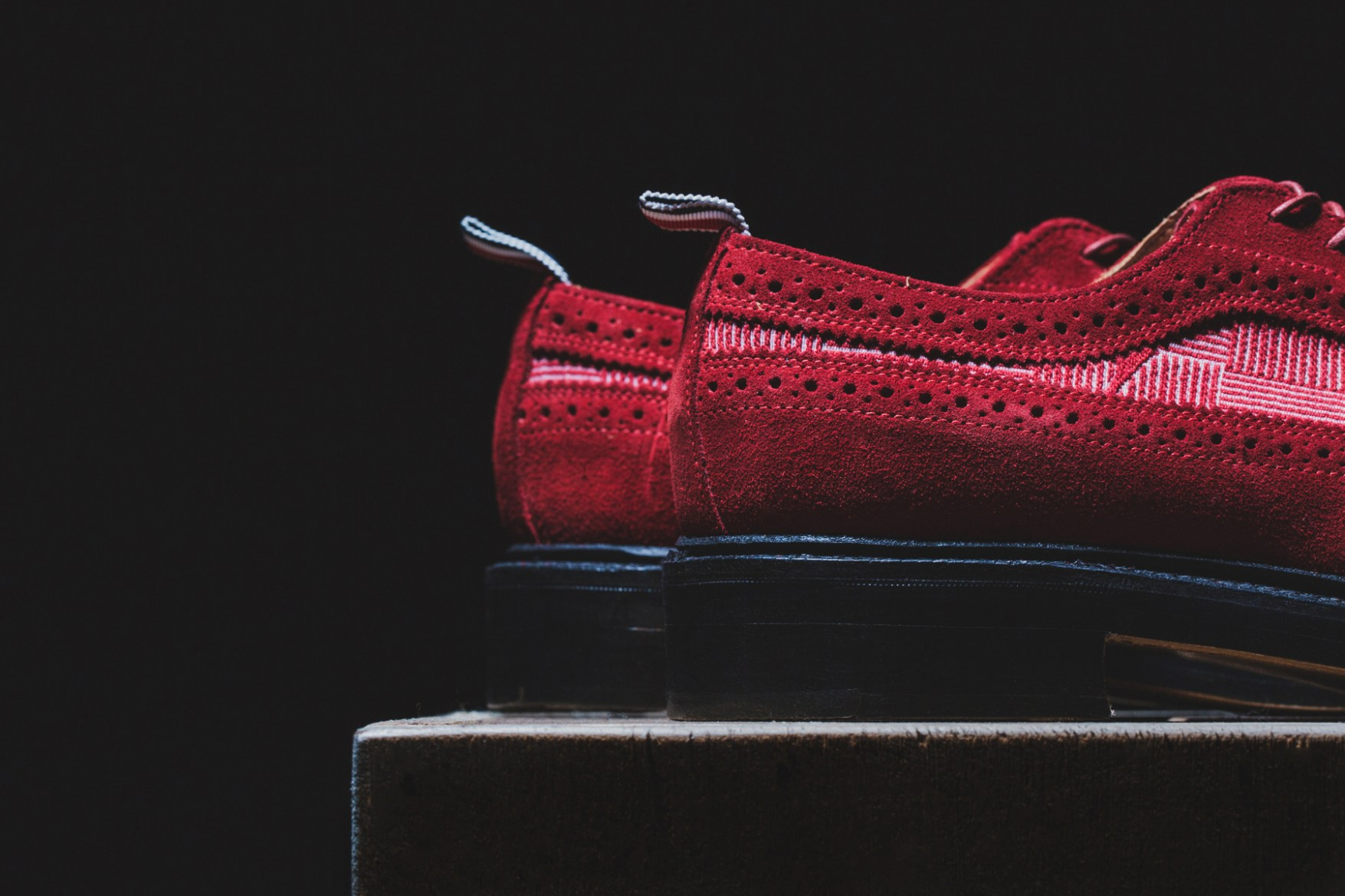 Thom Browne Long Wing Shoe Red Suede and Red Anchor Cotton Stamp Jacqaurd