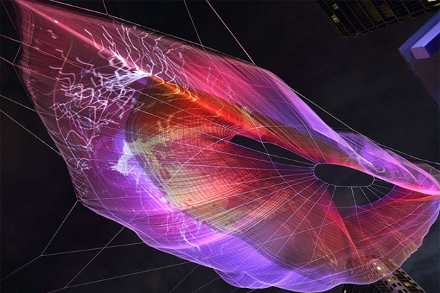 Google Chrome Textile Sculpture by Janet Echelman and Aaron Koblin