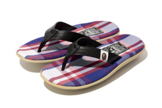 "A Bathing Ape x Island Slipper 2014 Spring/Summer ""BAPE CHECK"" Sandal"