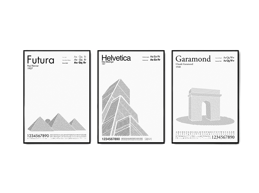 Artist Uses Type for Paint in Travel Posters
