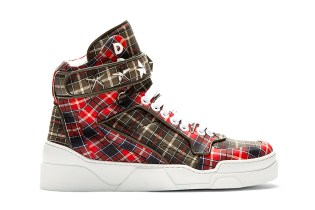 Givenchy Red Calfskin Plaid Tyson High-Top