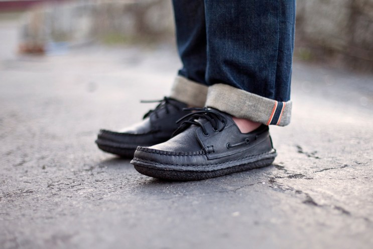 """New England Outerwear Co. 3 Eye Boat Shoe """"Blacked Out"""""""