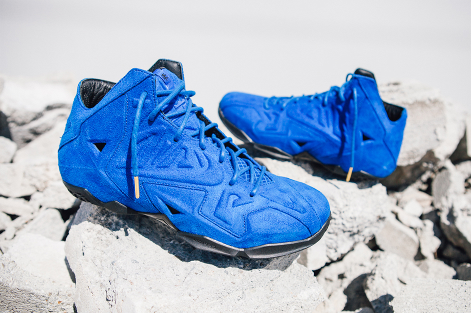 nike lebron 11 ext blue suede