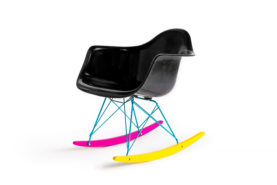 the hundreds x modernica cmyk fiberglass arm shell rocker