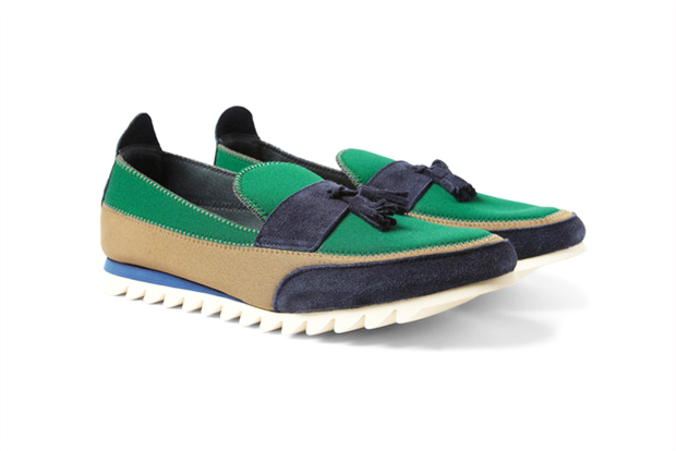 Kolor Suede and Neoprene Tasseled Loafers