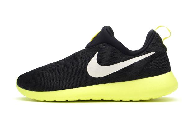 Nike Roshe Run Slip On Black/Volt
