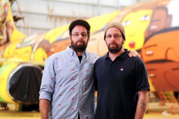 Os Gêmeos Spray Paint the Brazillian National Team's Airplane