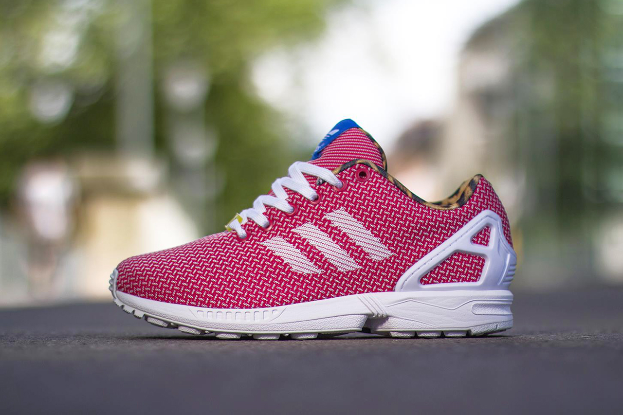 adidas originals zx flux weave red leopard