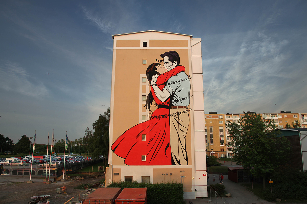 "D*Face ""Last Embrace Before Departure"" Mural @ ArtScape Festival Malmo"