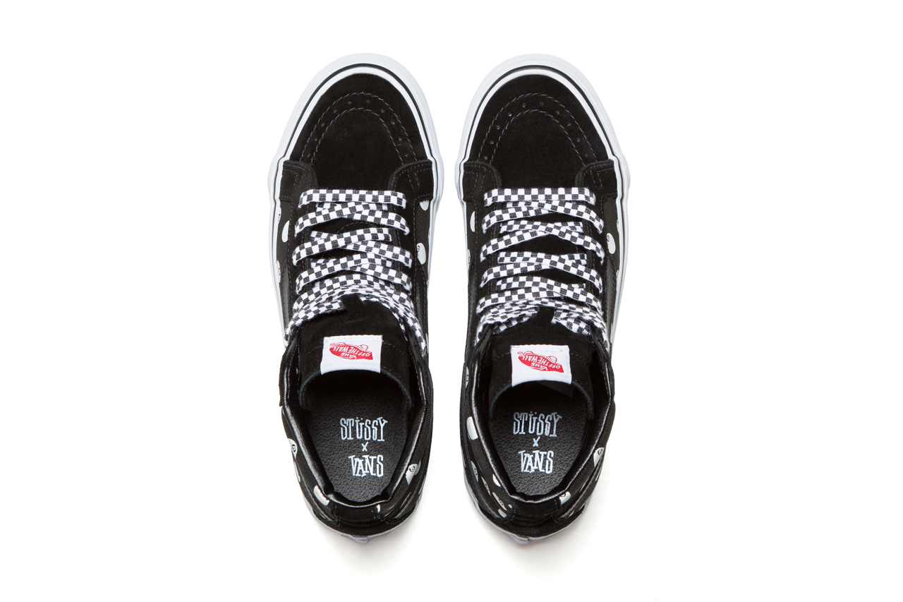 stussy x vault by vans sk8 hi black 8 ball