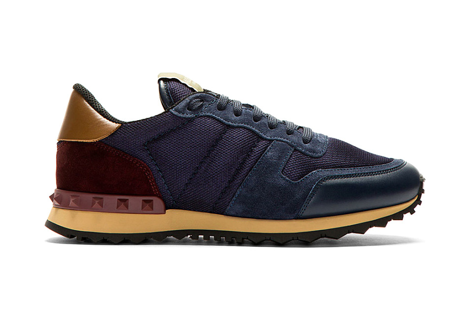 valentino 2014 fall winter navy mesh and leather studded sneakers