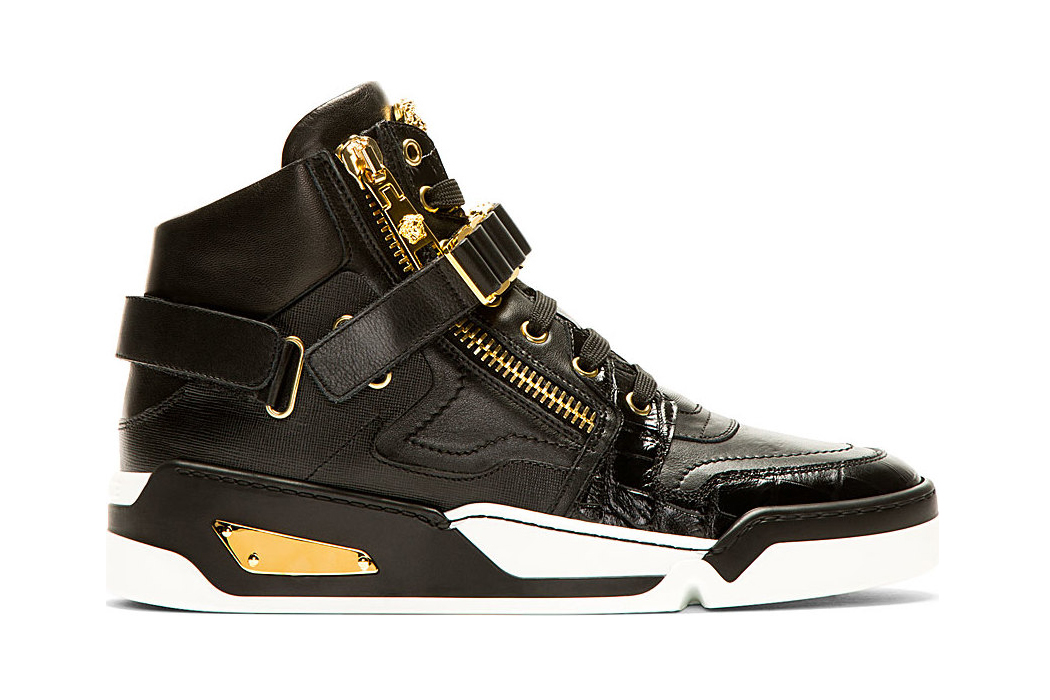 versace 2014 summer black leather high top sneakers
