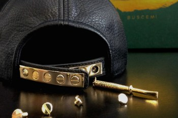 Buscemi Leather and Gold Snapback