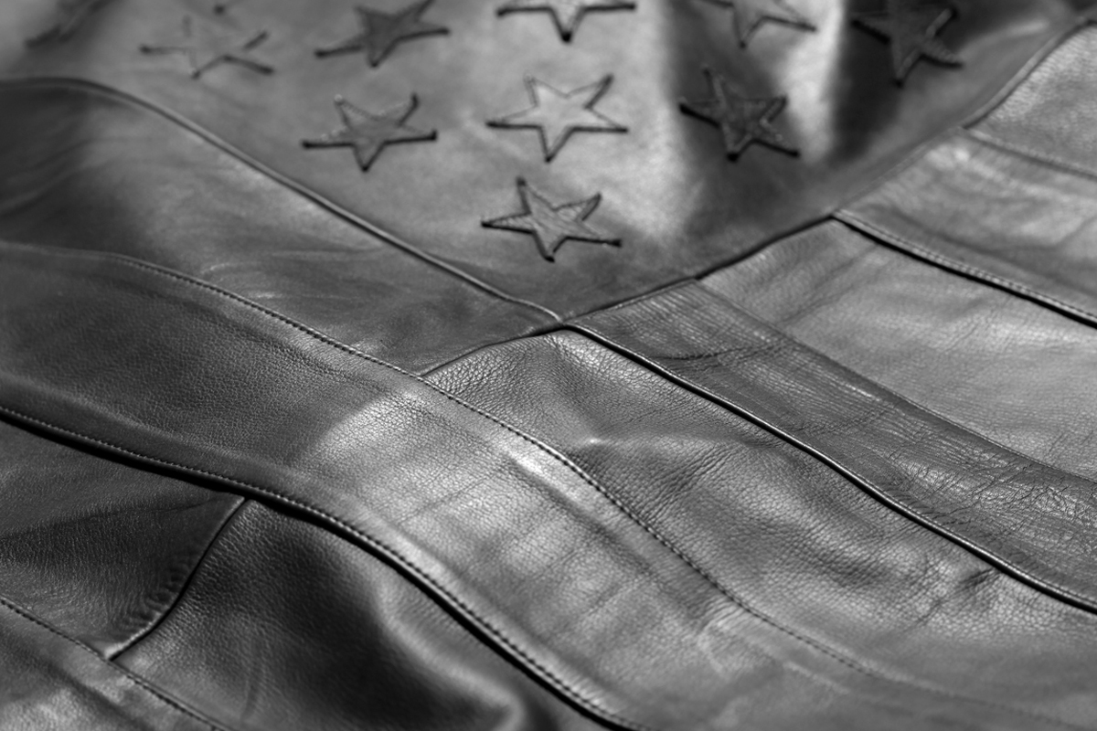 stampd black leather american flag