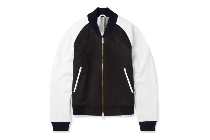 Thom Browne Leather-Sleeved Cashmere Bomber Jacket