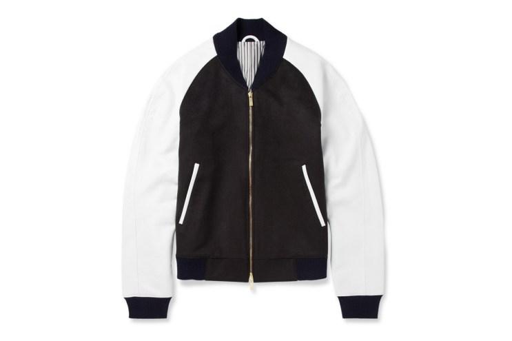Thom Browne Leather-Sleeved Cashmere Bomber Jacket