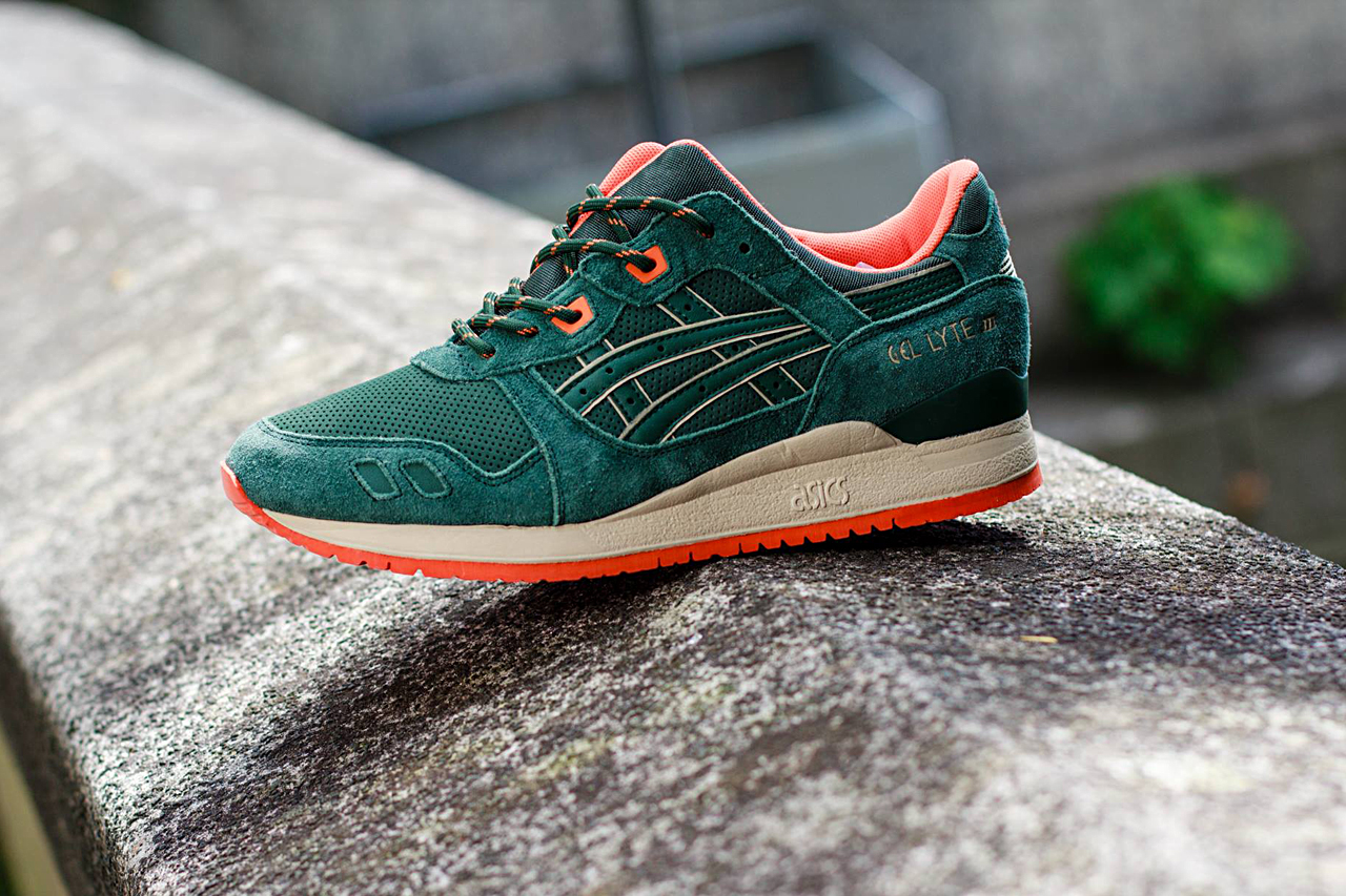 asics gel lyte iii dark green orange