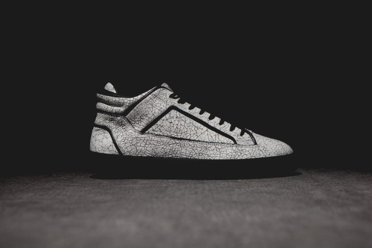 ETQ Amsterdam Mid Top 2 White Marbled Leather Sneaker