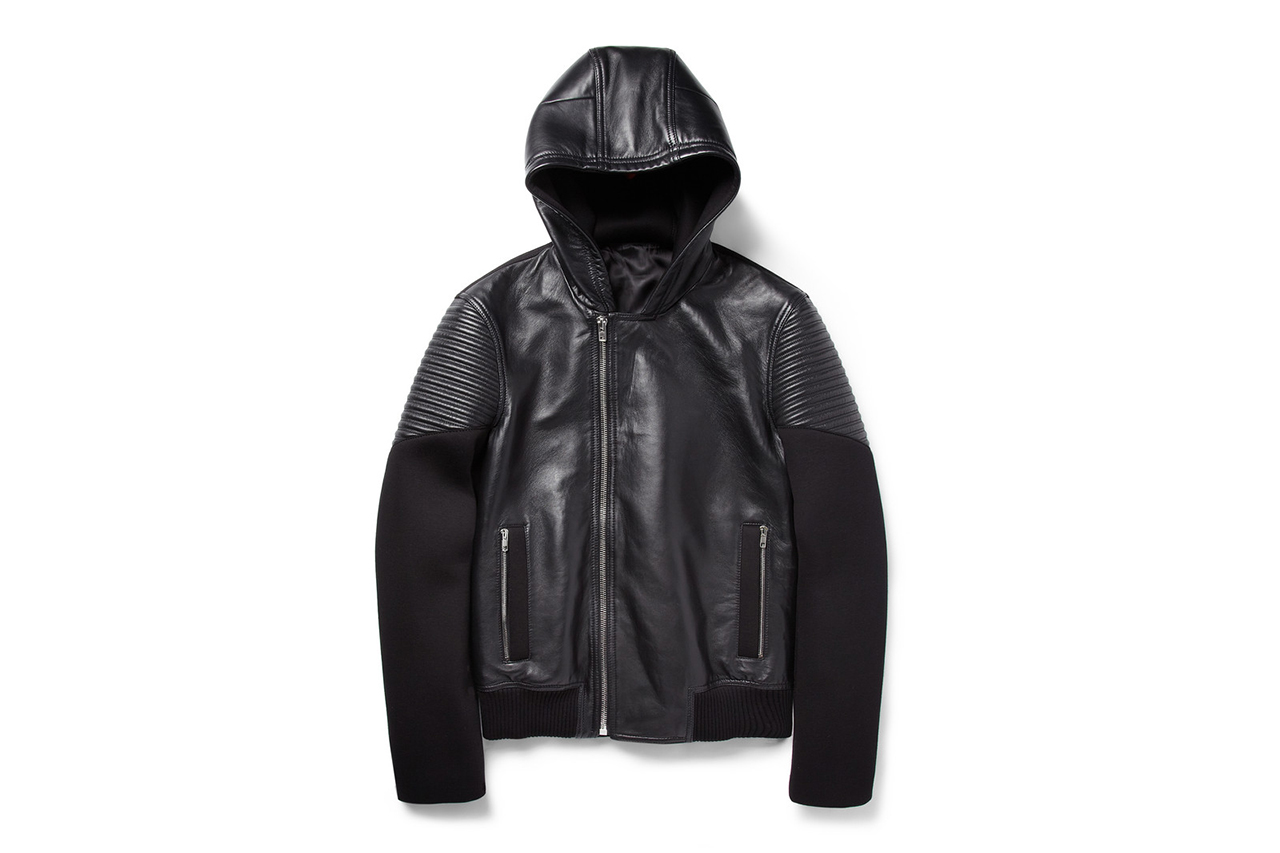 Givenchy Hooded Leather and Neoprene Jacket