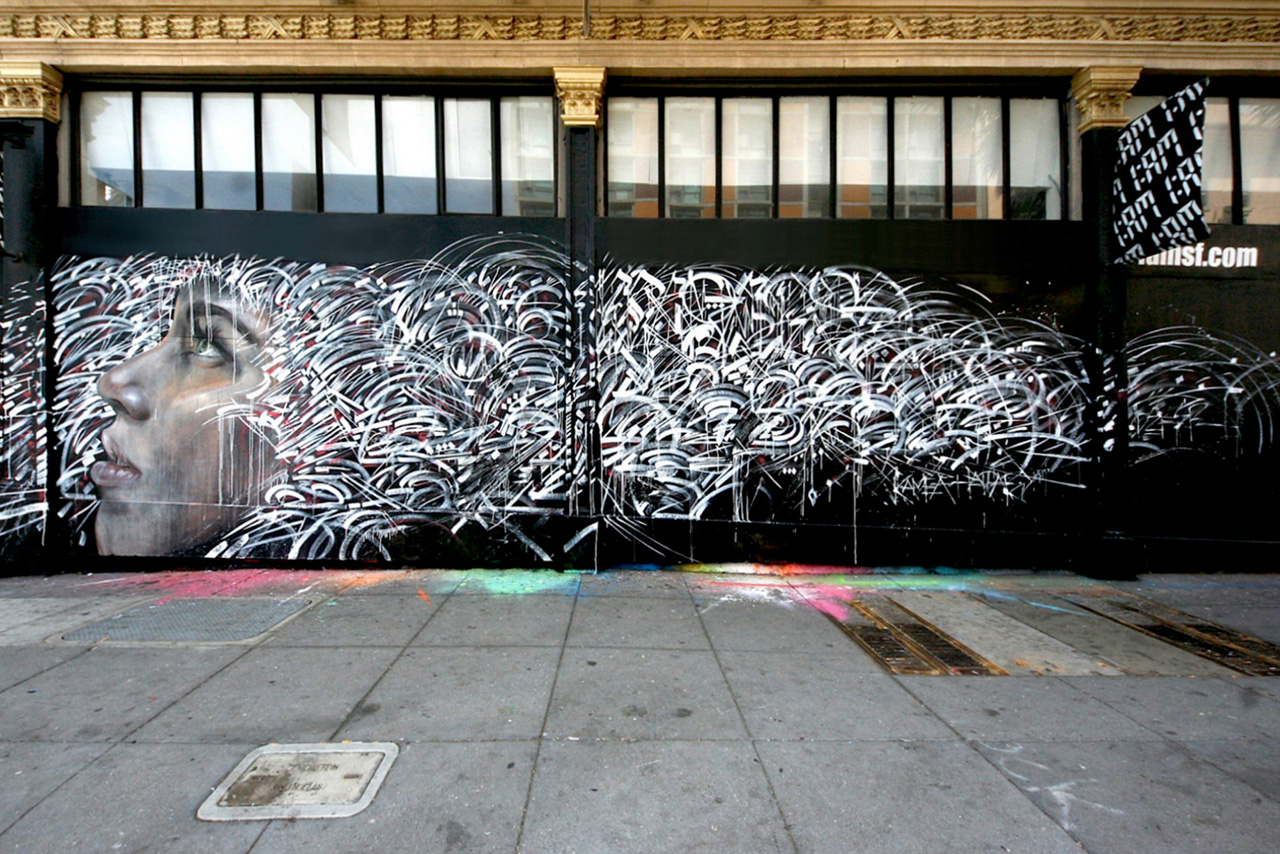 kamea hadar and defer paint paradise lost mural in san francisco