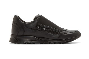 Lanvin Black Leather Elastic Panel Runner