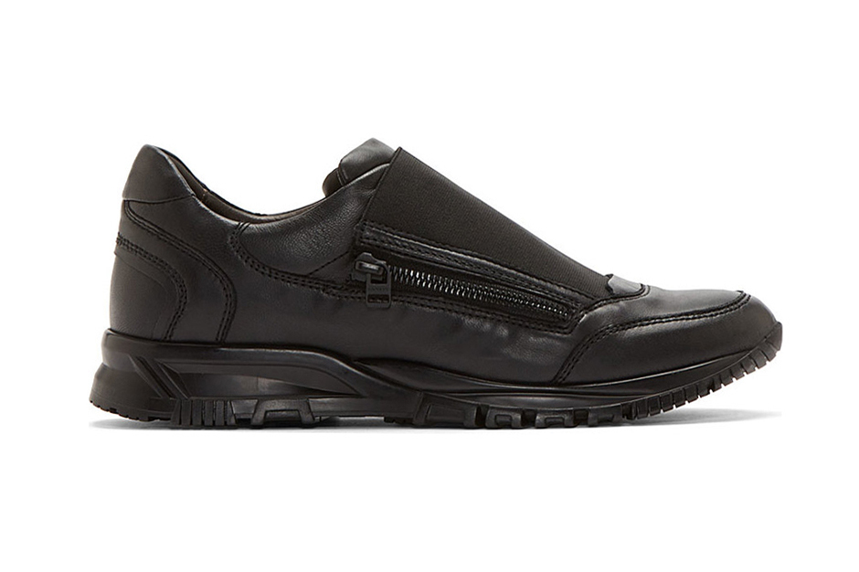 Lanvin Black Leather Elastic Panel Runner