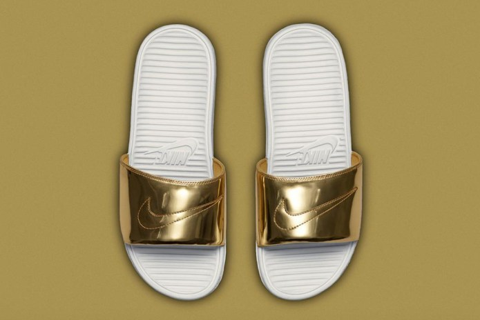 "Nike Benassi Solarsoft Slide SP ""Liquid Metal"""