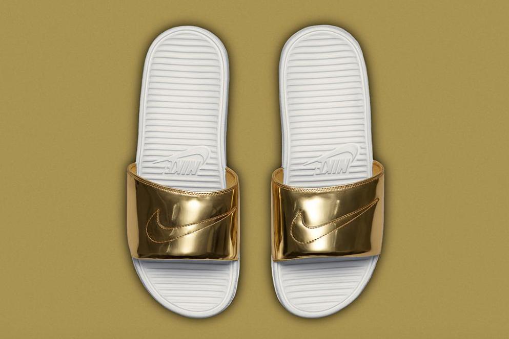 "Nike Benassi Solarsoft Slide SP ""Liquid Metal"""