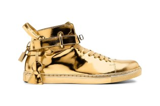 Buscemi 100mm High Top Gold Sneaker