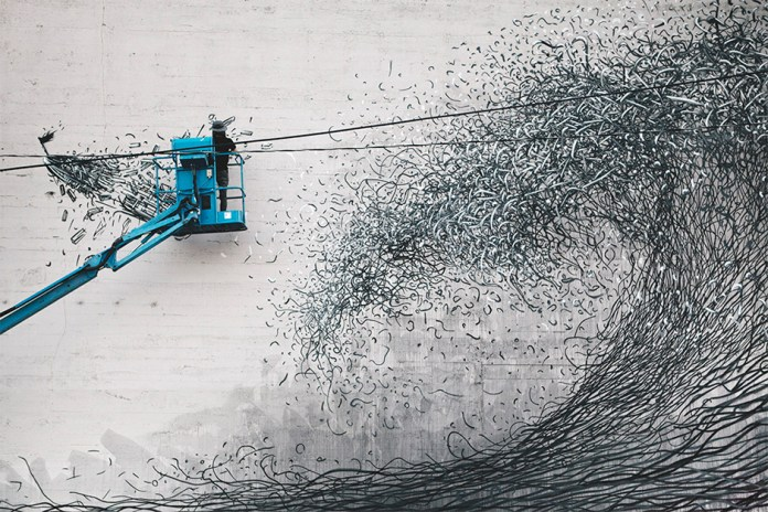 """DALeast Paints """"Persistent Parabola"""" Mural at the Forest For The Trees Project in Portland, Oregon"""