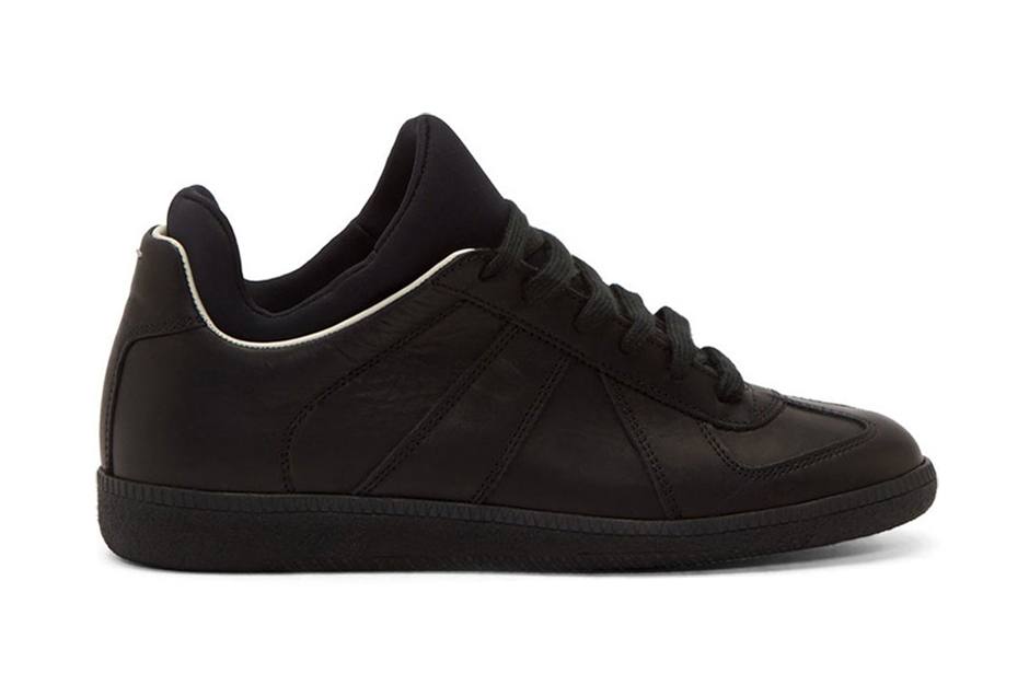 Maison Martin Margiela Black Leather Integrated Neoprene Replica Sneakers
