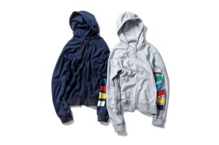 uniform experiment 2014 Fall/Winter Color Chart Cable Knit Sleeve Zip-Up Parka