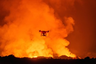 Drone Captures Bird's-Eye View Footage of an Erupting Volcano in Iceland