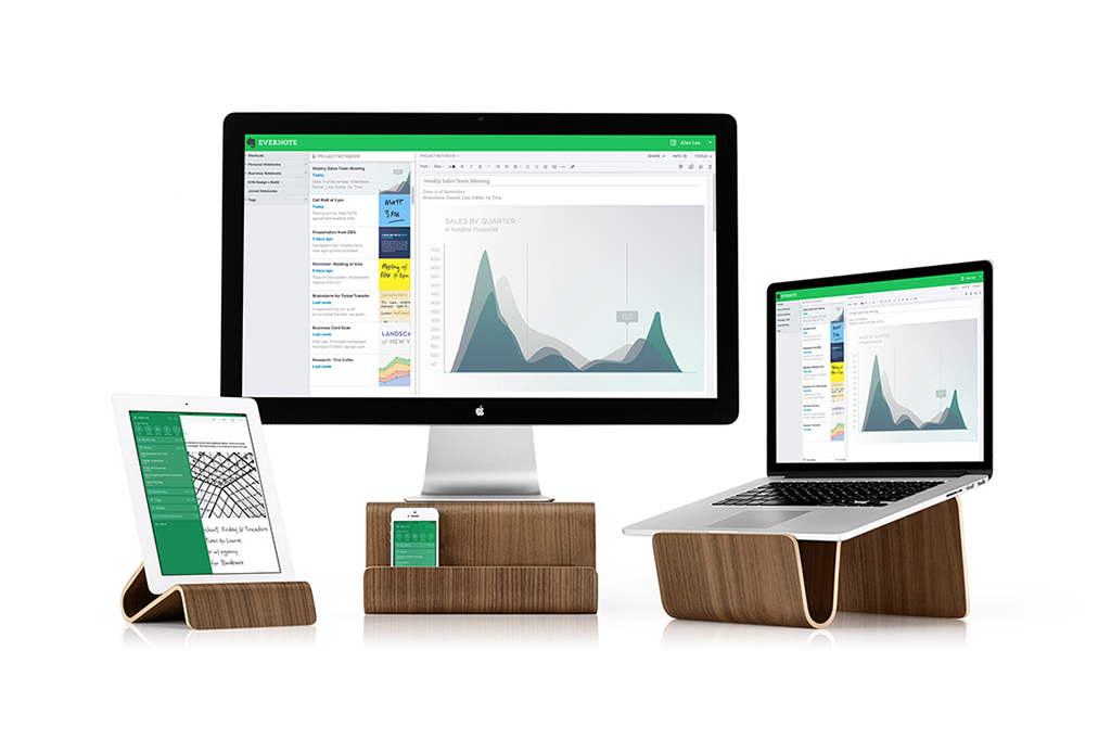 Evernote Organizes Your Desk With Laptop Stands