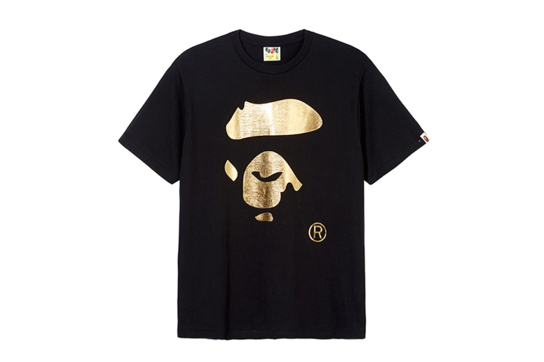 A Bathing Ape 2014 Fall/Winter Gold Face T-Shirt for Selfridges